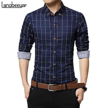SHIRT Men Clothes Slim Fit Men Long Sleeve Shirt Men Plaid Cotton Casual Men Shirt Social