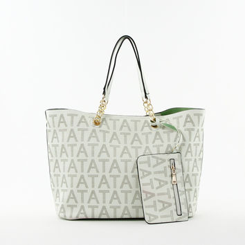 Perforated Double Bag Tote in White