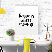 Mother's Day Gift Home is Where Mom is Printable Wall Art Decor Quote Chalkboard Mothers Gift Printable Gift Mom Birthday Gift Wall Art