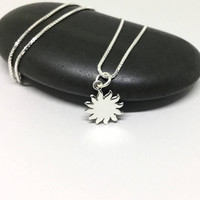 Sterling Silver Sun Necklace Sun Charm Dainty Necklace Tiny Charm Solar Jewelry Delicate Everyday Necklace Giffor Her