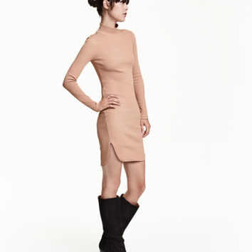Ribbed Turtleneck Dress - from H&M