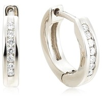 Sterling Silver Channel-Set Diamond Huggie Hoop Earrings (1/10 cttw, I Color, I2-I3 Clarity)