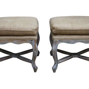 French Painted Benches, Pair