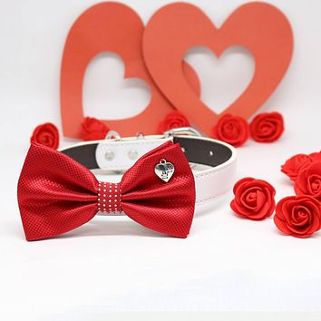 Red Dog Bow tie Collar, Charm (Heart Paws), Pet wedding accessory, Polka Dots