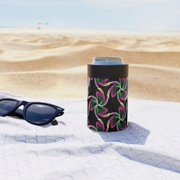 Neon Floral Can Cooler by kasseggs