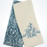 Disney Parks Castle and Mickey Icons Kitchen Towel Set New With Tags