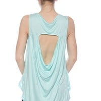 Fiercesome Feathers Cut-Out Back High Low Tank Top - Mint
