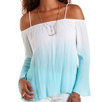 Pale Mint Combo Off-the-Shoulder Dip-Dye Top by Charlotte Russe