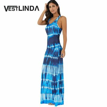 VESTLINDA Casual Boho Long Maxi Summer Dress Women Party Tank Dresses Female Tie-Dye Illusion Print Bohemian Beach Dress Vestido