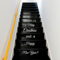 Wall Decal Vinyl Sticker Decals Art Decor Design Sign Custom Quote Stairs Merry Christmas Happy New Year Santa Snowflakes Gift House (r1350)