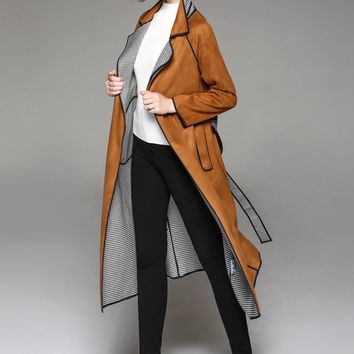 Classical Suede Trench Coat
