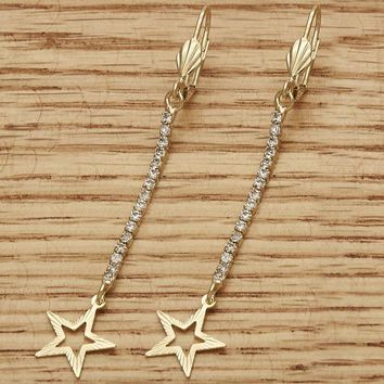 Gold Layered Women Star Long Earring, with  Cubic Zirconia, by Folks Jewelry