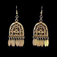 Chandelier Earrings With Scroll Design, In Antique Gold Tone, Boho Jewelry