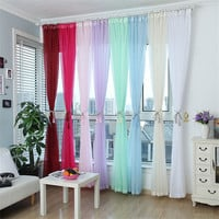 1pc Fashion Terylene Tulle Window Screening Blinds Sheer Voile Gauze Tube Curtains for Bedroom Balcony Living Room Decorations