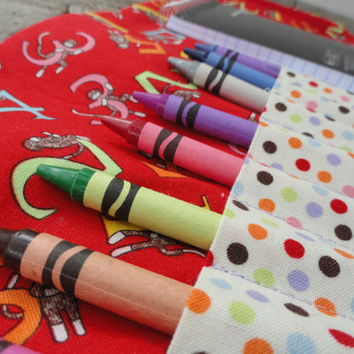 Crayon Wallet Sock Monkeys on Red Quiet Time Toy by OddEDesigns