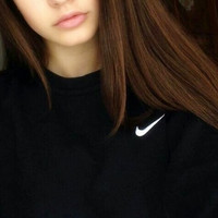 "Women Fashion ""NIKE"" Round Neck Top Pullover Sweater Sweatshirt Black white small hook"