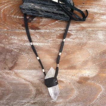 brazil quartz  talisman necklace // black deerskin // spirit tribe, healing crystals, bohemian, tribal, festival, layering necklace