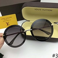 LV Louis Vuitton 2018 trendy male and female models retro round frame sunglasses F-A-SDYJ #3