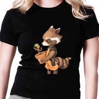 Groot And Rocket Racoon Best Friend TV Womens T Shirts Black And White
