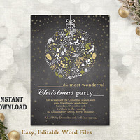 Christmas Party Invitation Card - Chalkboard Printable Template - Holiday Party Card - Christmas Card - Editable Template - Gold White DIY