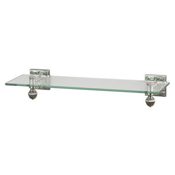 Glass Shelf With Brused Steel Accents And Embossed Back Plates