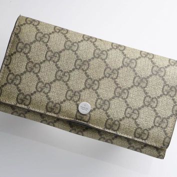 One-nice™ G9199K Authentic GUCCI GG Plus PVC & Leather Bifold Long Wallet