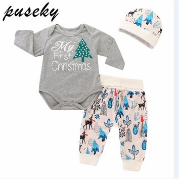 Puseky 3Pcs Christmas Baby Boy Clothes Letter Baby Girl clothing My First Christmas Girls Newborn Outfits Set Romper+Pants+Hats
