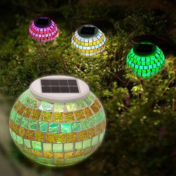 SOLMORE Solar LED Colorful Glass Mosaic Ball Night Light for Outdoor Garden Yard Lawn