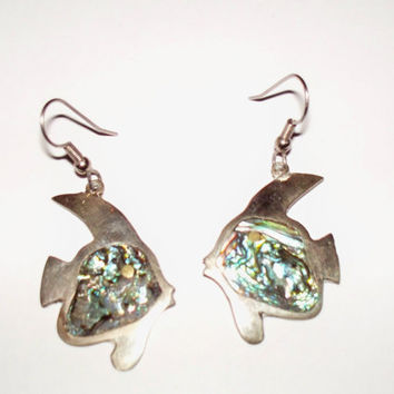 Vintage Alpaca Abalone Silver Fish Earrings Mexico Dangle Mexican Jewelry