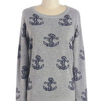 ModCloth Nautical Mid-length Long Sleeve Dancing on the Dock Sweater