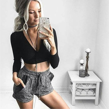 Long Sleeve Crop Top T Shirt  Women Sexy V-Neck Cross Tie T-Shirt Night Club Wear Cropped Feminino W