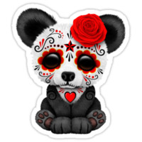 Red Day of the Dead Sugar Skull Panda on Yellow