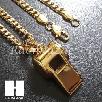 316L Stainless steel Gold  Heavy Whistle Pendant w/ 5mm Cuban Chain SG30