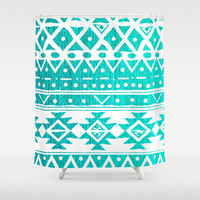 AQUAMARINE TRIBAL  Shower Curtain by Nika