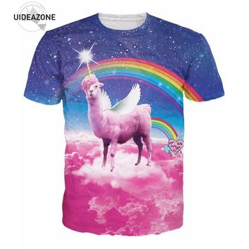 Rainbow Llama corn 3D Printed Space Galaxy T-shirt size ml