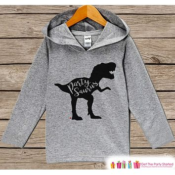 Kids Dinosaur Shirt - Partysaurus Dino Birthday Hoodie - Birthday Pullover - Happy Birthday - Boys or Girls Hoodie - Dino Birthday Pullover