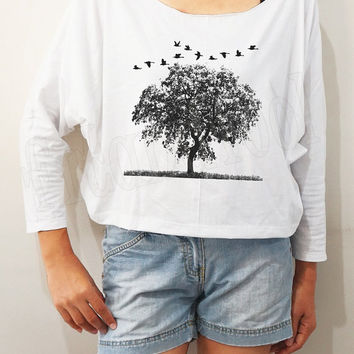 Bird Tree Shirts Bird Shirts Funny Animal Shirts Bat Sleeve Shirts Crop Shirts Long Sleeve Tee Oversized Sweatshirt Women Shirts - FREE SIZE