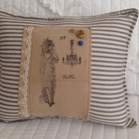 Sale!! Blue ticking Edwardian lady chandelier pillow, blue ticking pillows, victorian lady pillow