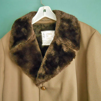 Vintage London Fog Winter Coat - 1960s Men's Fur Collar Jacket