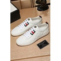 GUCCI 2018 summer new leisure casual men's shoes with a single shoe youth shoes F-OMDP-GD white