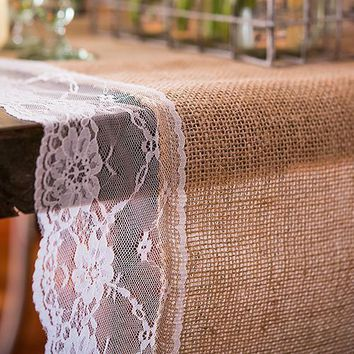 "Table Number Personalized Burlap And Lace Table Runner (120"" - 3.0m long) (Pack of 1)"