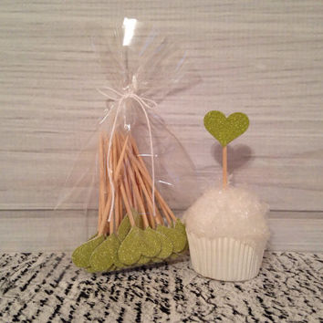 Lime Green Glitter Heart Cupcake Toppers Wedding Cupcake Toppers Valentines Day Birthday Appetizer Horderves Food Picks