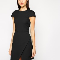 ASOS Dress in Bonded Crepe with Asymmetric Hem at asos.com