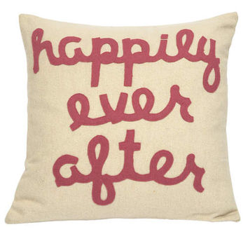 Jubilee Collection P911 Happily Ever After Pink Letters 20 x 20 Decorative Pillow