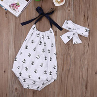 Newborn Infant Kids Toddler Baby Girls Clothes Bowknot Anchor Romper Backless  Jumpsuit Outfits Sunsuit