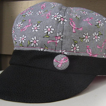 Newsboy, Baseball Style, Cancer Awareness fabric, Kacy Chapin Ritter Hat