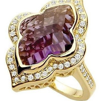 AMAZING 14.25CT PURPLE AMATHYST 925 STERLING SILVER ENGAGEMENT AND WEDDING RING