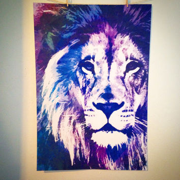Lion head giclee fine art print birthday gift anniversary wedding decor watercolor mixed media geometric graffiti