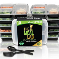 [LONGER LASTING] The Meal Lab 3-Compartment BPA FREE Stackable Meal Prep Food Storage Containers with Lids | Microwave & Dishwasher Safe Bento Lunch Box | Portion Control Plates + Weight Loss