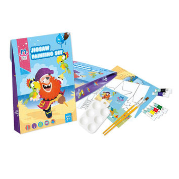 Kids Coloring Canvas Panels,Acrylic Paint,Brush,Palette,Plastic Board Set for Age 4 and Up